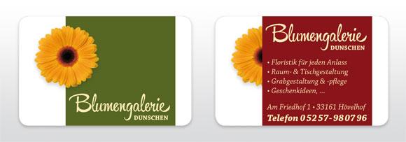 Visitenkarte Blumengalerie Dunschen