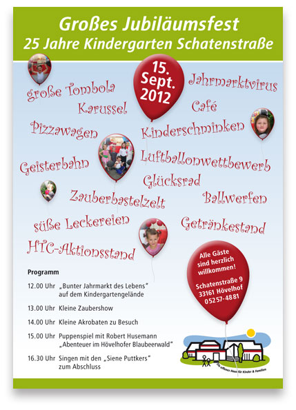 plakate und einladungen kindergarten schatenstraße | werbeagentur, Einladungsentwurf