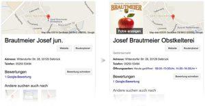 Google My Business-Anmeldung von Brautmeier Ostenland