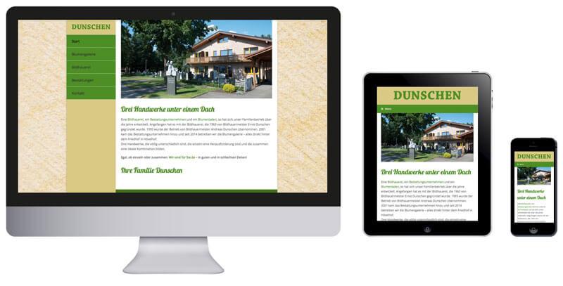 Homepage Dunschen, Blumengalerie, Bildhauerei, Bestattungsunternehmen in Hövelhof