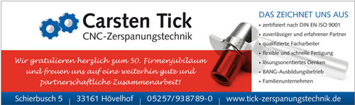 Inserat Tick Zerspanungstechnik in Hövelhof