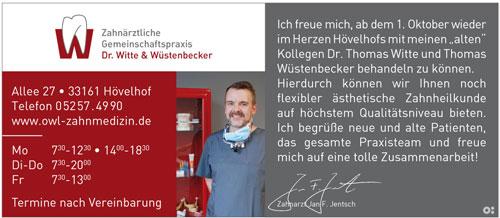 Inserat Witte Wüstenbecker Zahnärzte in Hövelhof