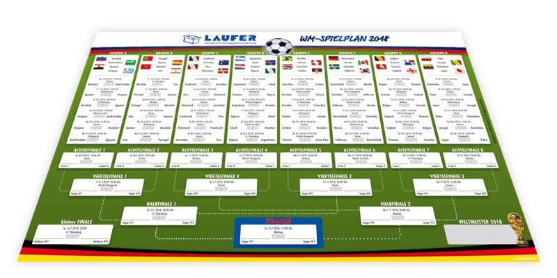 Spielplan für die WM 2018 in Russland