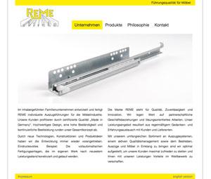 Homepage REME Möbelbeschläge GmbH, Hövelhof